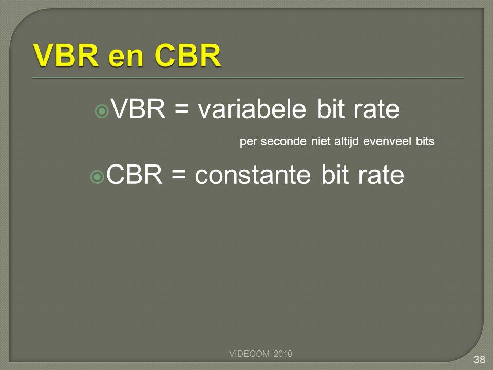  VBR = variabele bit rate  CBR = constante bit rate VIDEOOM 2010 38 per seconde niet altijd evenveel bits