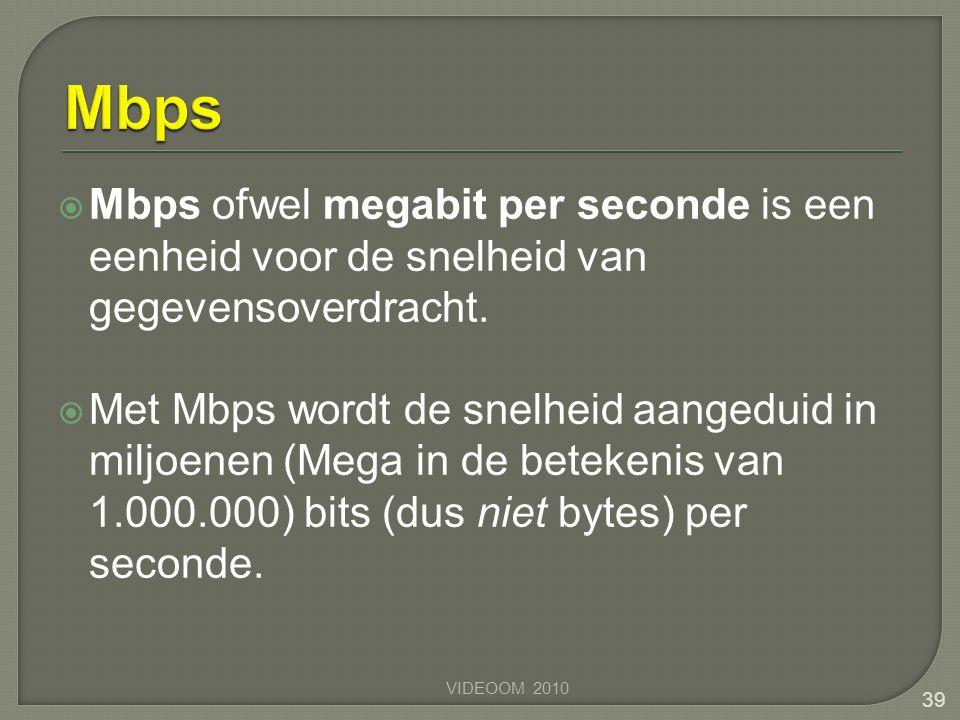  Mbps ofwel megabit per seconde is een eenheid voor de snelheid van gegevensoverdracht.  Met Mbps wordt de snelheid aangeduid in miljoenen (Mega in