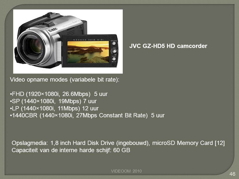 VIDEOOM 2010 46 Video opname modes (variabele bit rate): •FHD (1920×1080i, 26.6Mbps) 5 uur •SP (1440×1080i, 19Mbps) 7 uur •LP (1440×1080i, 11Mbps) 12