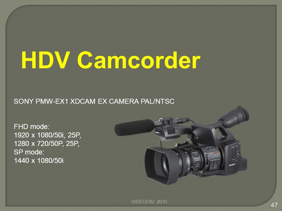 VIDEOOM 2010 47 FHD mode: 1920 x 1080/50i, 25P, 1280 x 720/50P, 25P, SP mode: 1440 x 1080/50i SONY PMW-EX1 XDCAM EX CAMERA PAL/NTSC HDV Camcorder