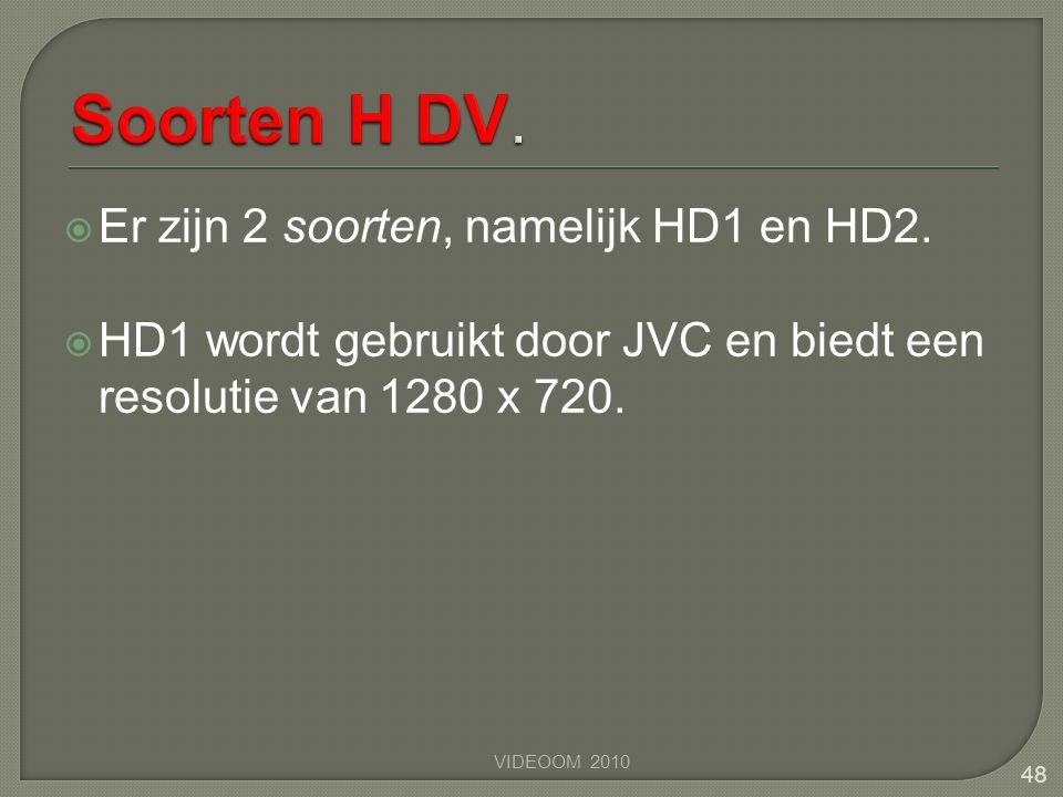  Er zijn 2 soorten, namelijk HD1 en HD2.  HD1 wordt gebruikt door JVC en biedt een resolutie van 1280 x 720. VIDEOOM 2010 48