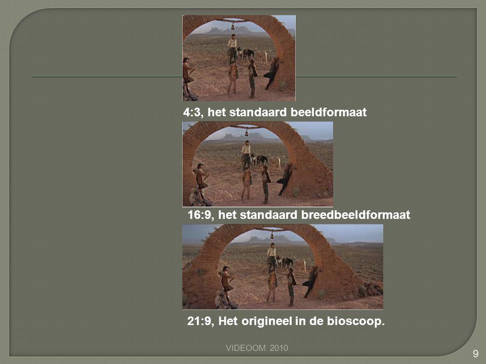 VIDEOOM 2010 9 4:3, het standaard beeldformaat 16:9, het standaard breedbeeldformaat 21:9, Het origineel in de bioscoop.