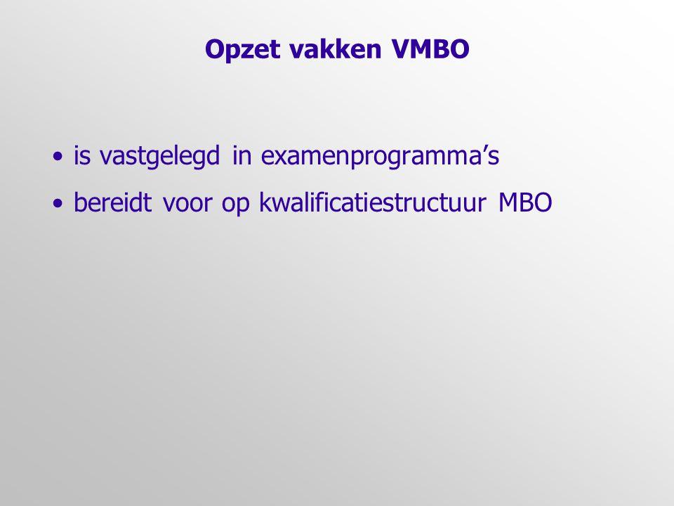 Opzet vakken VMBO •is vastgelegd in examenprogramma's •bereidt voor op kwalificatiestructuur MBO