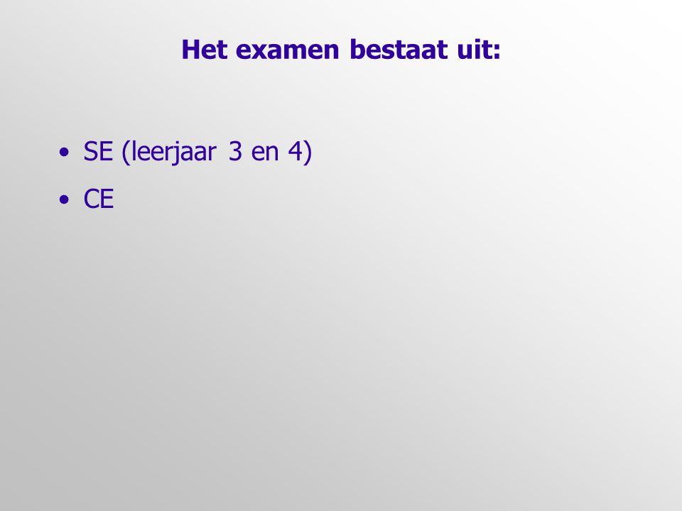 Het examen bestaat uit: •SE (leerjaar 3 en 4) •CE