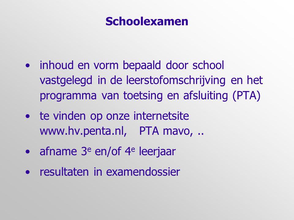 Schoolexamen •inhoud en vorm bepaald door school vastgelegd in de leerstofomschrijving en het programma van toetsing en afsluiting (PTA) •te vinden op