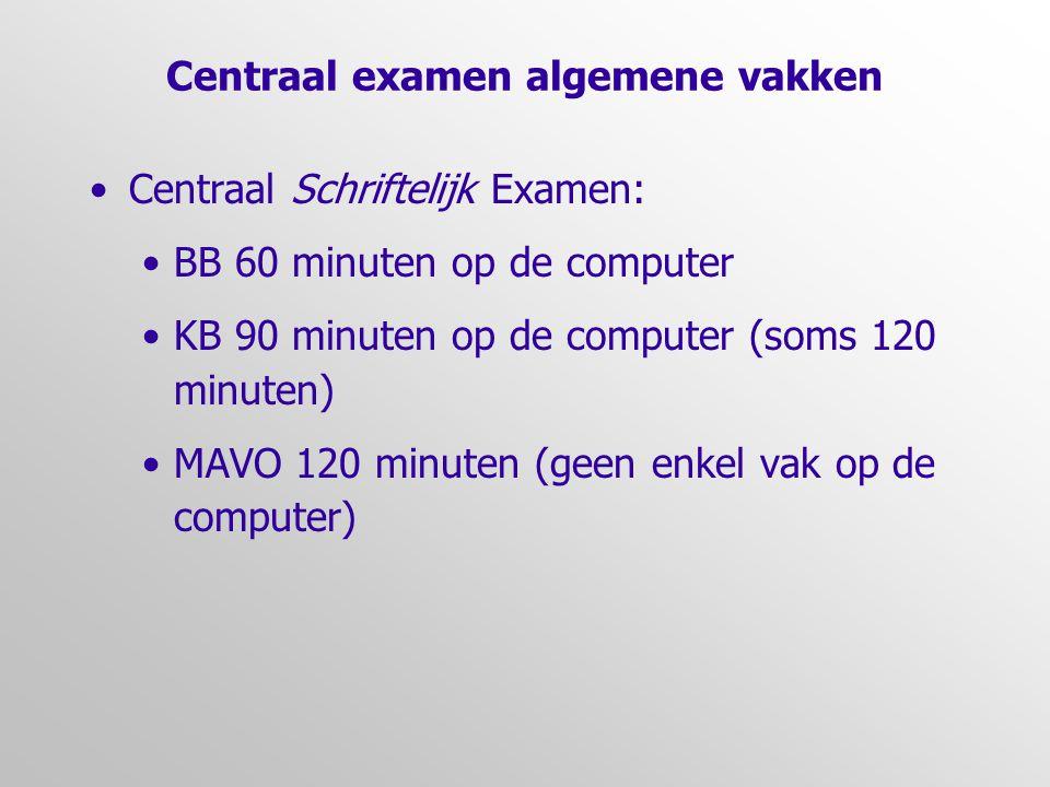 Centraal examen algemene vakken •Centraal Schriftelijk Examen: •BB 60 minuten op de computer •KB 90 minuten op de computer (soms 120 minuten) •MAVO 12