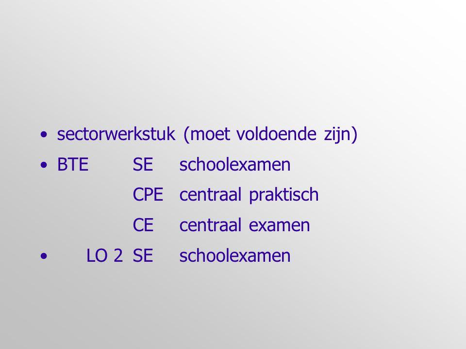 •sectorwerkstuk (moet voldoende zijn) •BTESEschoolexamen CPE centraal praktisch CEcentraal examen •LO 2SEschoolexamen