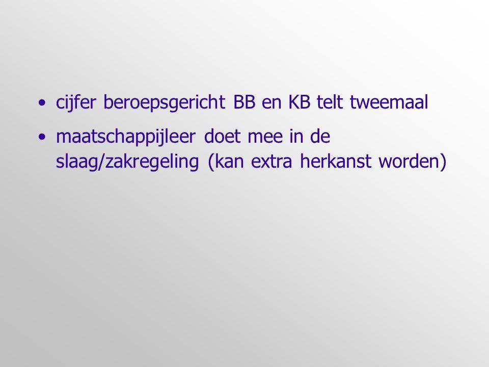 •cijfer beroepsgericht BB en KB telt tweemaal •maatschappijleer doet mee in de slaag/zakregeling (kan extra herkanst worden)