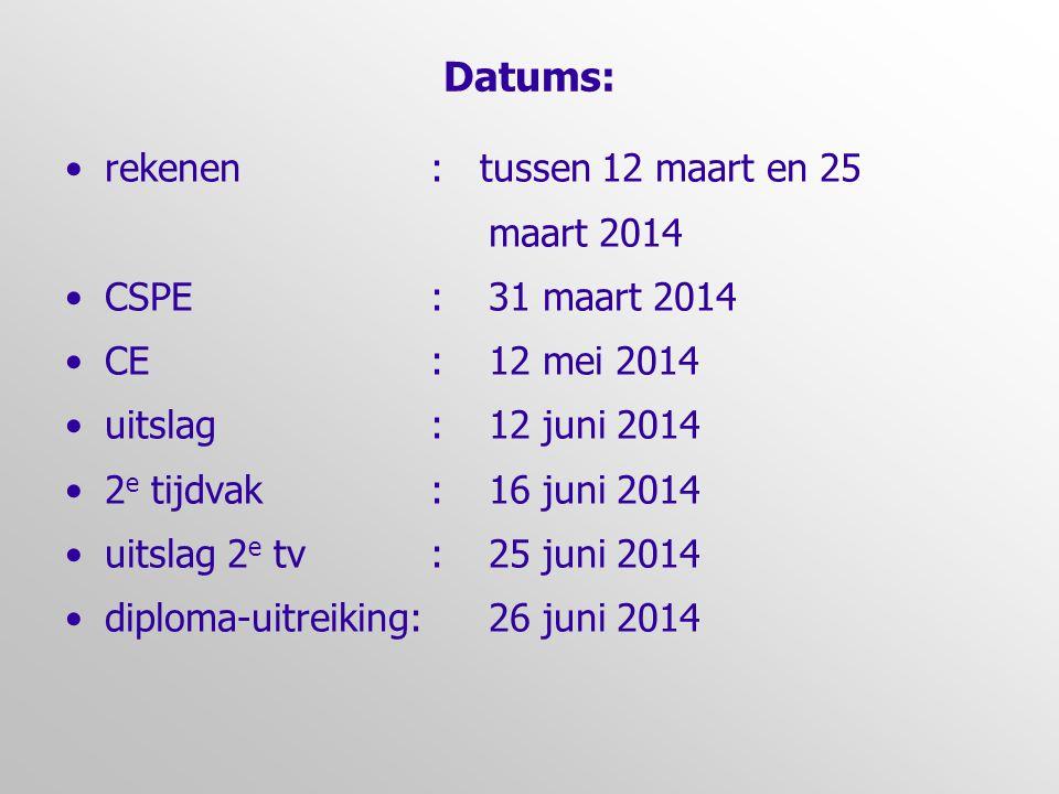 Datums: •rekenen : tussen 12 maart en 25 maart 2014 •CSPE :31 maart 2014 •CE :12 mei 2014 •uitslag :12 juni 2014 •2 e tijdvak :16 juni 2014 •uitslag 2