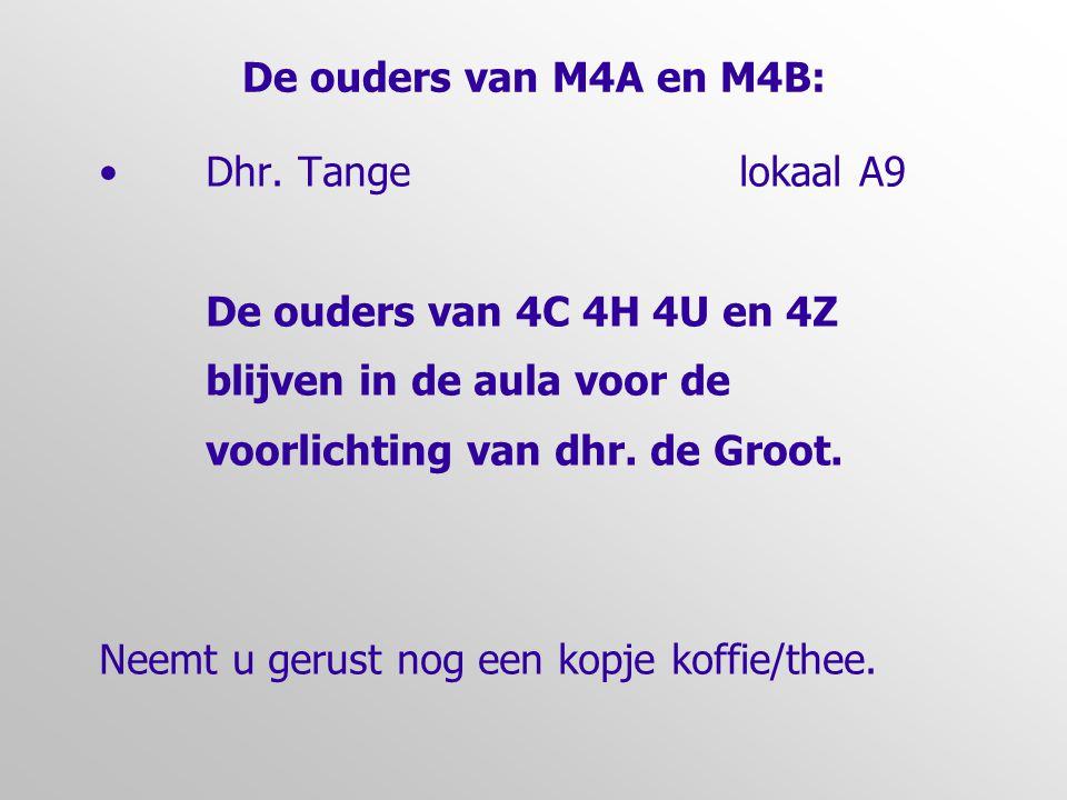 De ouders van M4A en M4B: • Dhr. Tangelokaal A9 De ouders van 4C 4H 4U en 4Z blijven in de aula voor de voorlichting van dhr. de Groot. Neemt u gerust