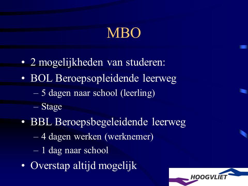 •2 mogelijkheden van studeren: •BOL Beroepsopleidende leerweg –5 dagen naar school (leerling) –Stage •BBL Beroepsbegeleidende leerweg –4 dagen werken