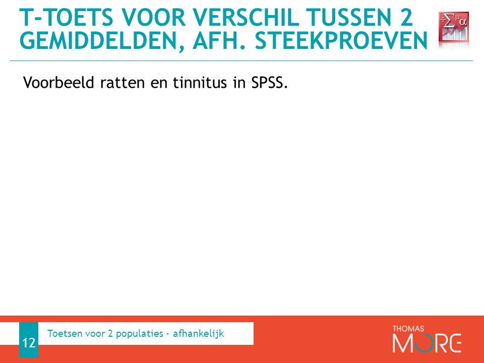 Voorbeeld ratten en tinnitus in SPSS. T-TOETS VOOR VERSCHIL TUSSEN 2 GEMIDDELDEN, AFH. STEEKPROEVEN 12 Toetsen voor 2 populaties - afhankelijk