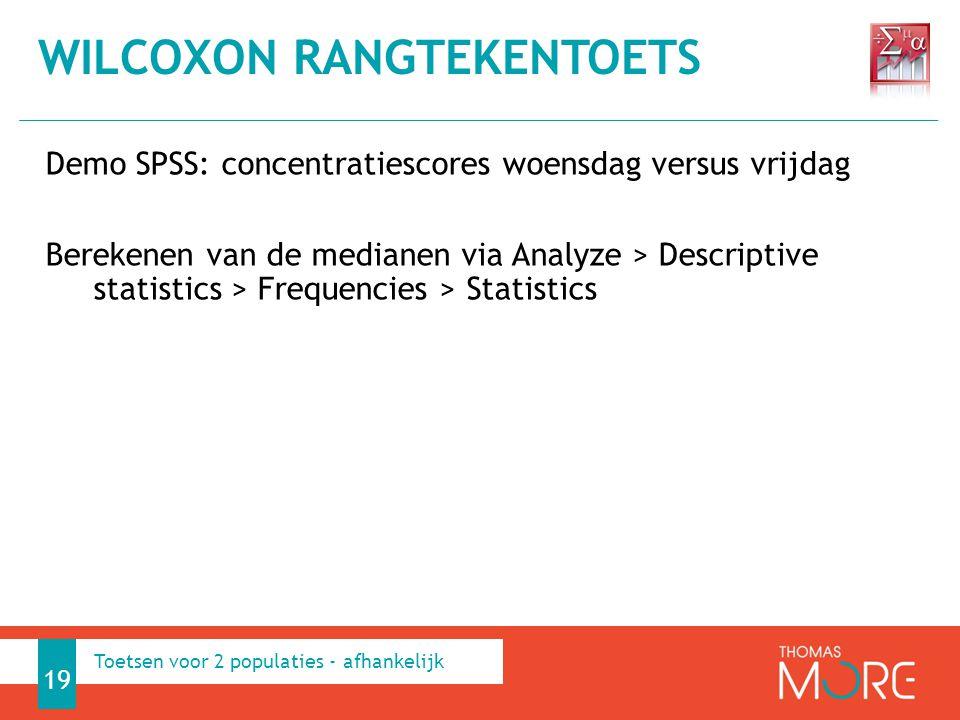 Demo SPSS: concentratiescores woensdag versus vrijdag Berekenen van de medianen via Analyze > Descriptive statistics > Frequencies > Statistics WILCOX
