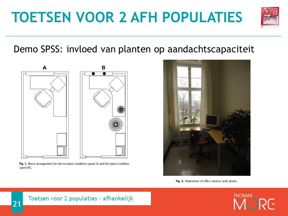 Demo SPSS: invloed van planten op aandachtscapaciteit TOETSEN VOOR 2 AFH POPULATIES 21 Toetsen voor 2 populaties - afhankelijk