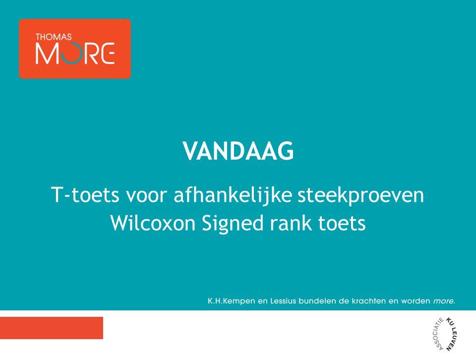 T-toets voor afhankelijke steekproeven Wilcoxon Signed rank toets VANDAAG