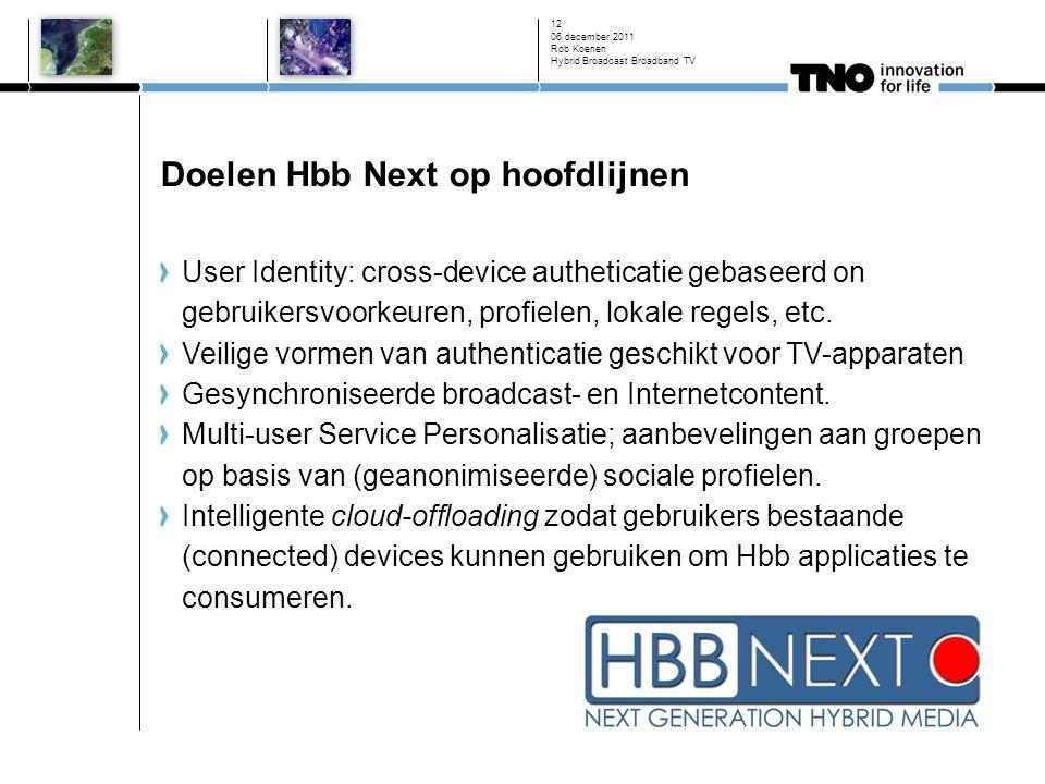 Doelen Hbb Next op hoofdlijnen User Identity: cross-device autheticatie gebaseerd on gebruikersvoorkeuren, profielen, lokale regels, etc.
