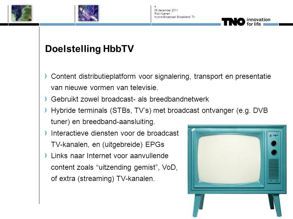 Doelstelling HbbTV Content distributieplatform voor signalering, transport en presentatie van nieuwe vormen van televisie.