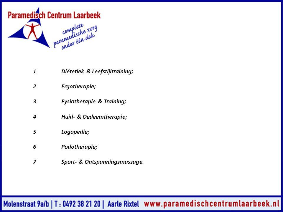 1Diëtetiek & Leefstijltraining; 2Ergotherapie; 3Fysiotherapie & Training; 4Huid- & Oedeemtherapie; 5Logopedie; 6Podotherapie; 7Sport- & Ontspanningsma