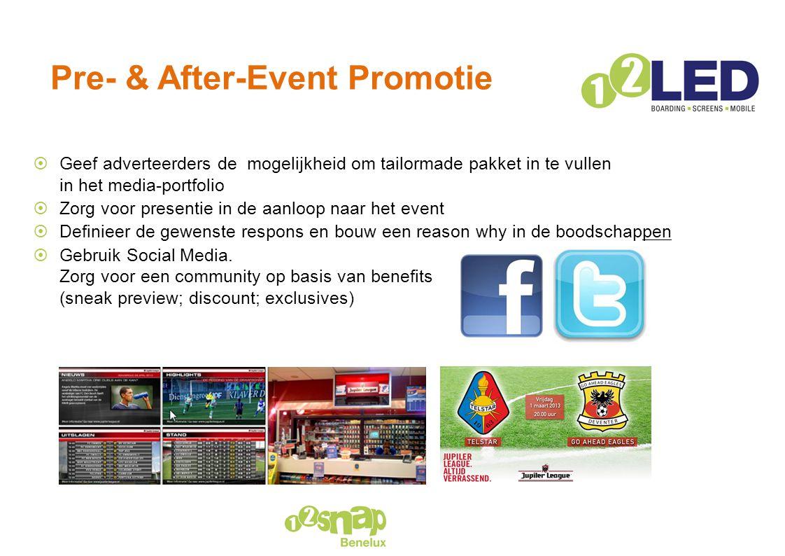 Pre- & After-Event Promotie  Geef adverteerders de mogelijkheid om tailormade pakket in te vullen in het media-portfolio  Zorg voor presentie in de