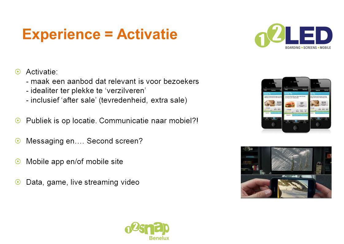 Experience = Activatie  Activatie: - maak een aanbod dat relevant is voor bezoekers - idealiter ter plekke te 'verzilveren' - inclusief 'after sale'