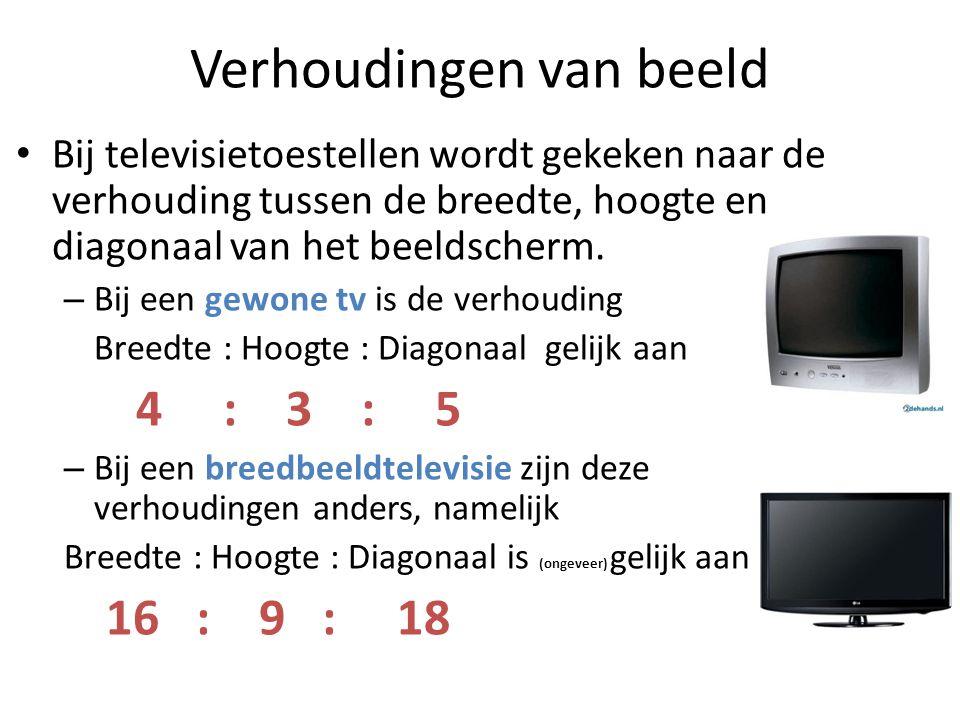 Verhoudingen van beeld • Bij televisietoestellen wordt gekeken naar de verhouding tussen de breedte, hoogte en diagonaal van het beeldscherm.