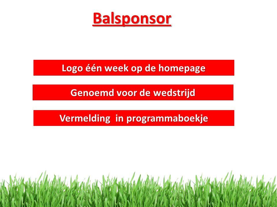 Balsponsor Logo één week op de homepage Vermelding in programmaboekje Genoemd voor de wedstrijd
