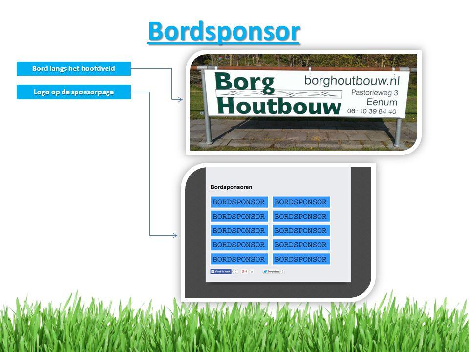 Bordsponsor Bord langs het hoofdveld Logo op de sponsorpage