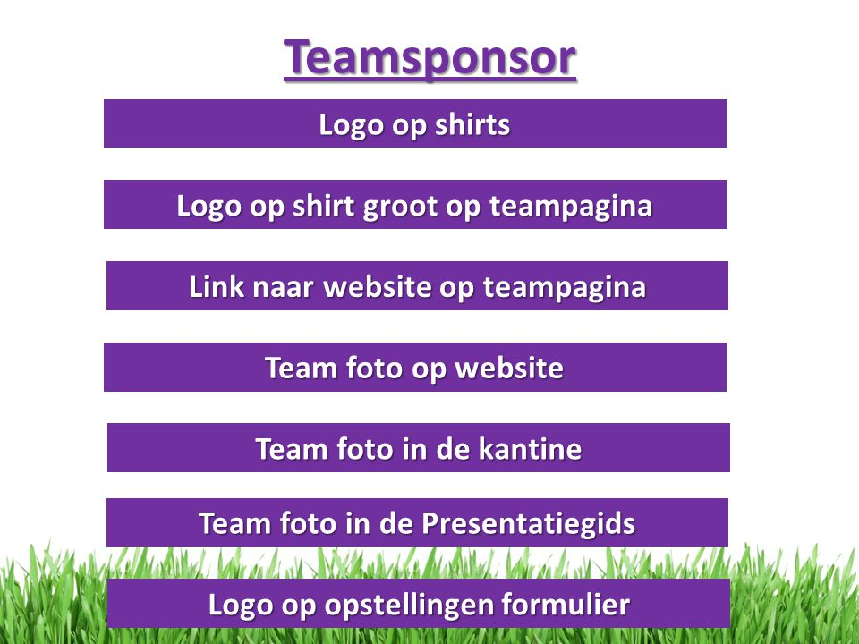 Teamsponsor Logo op shirts Logo op shirt groot op teampagina Link naar website op teampagina Team foto op website Team foto in de kantine Team foto in