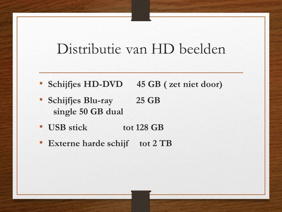 Distributie van HD beelden • Schijfjes HD-DVD 45 GB ( zet niet door) • Schijfjes Blu-ray 25 GB single 50 GB dual • USB stick tot 128 GB • Externe hard