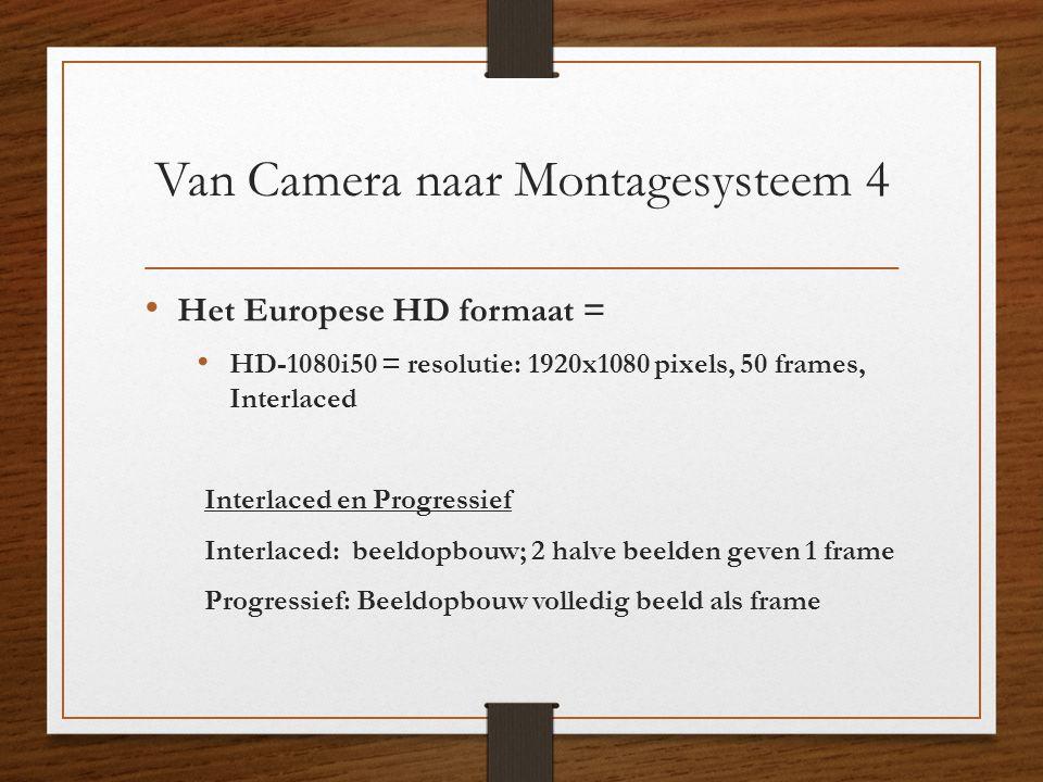 Van Camera naar Montagesysteem 4 • Het Europese HD formaat = • HD-1080i50 = resolutie: 1920x1080 pixels, 50 frames, Interlaced Interlaced en Progressi