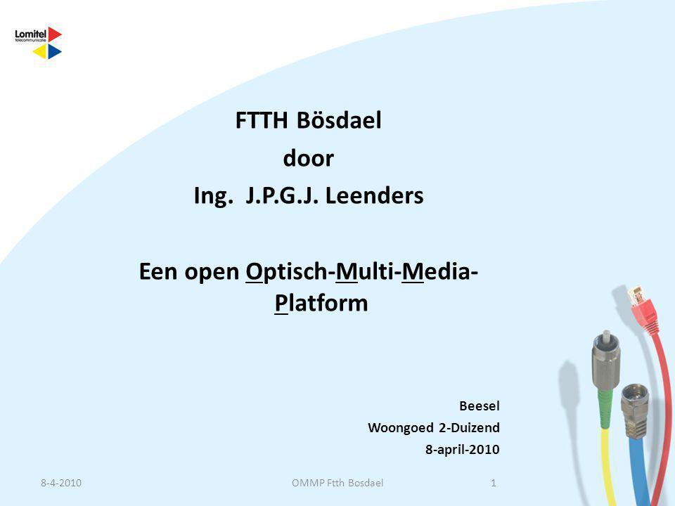 FTTH Bösdael door Ing. J.P.G.J. Leenders Een open Optisch-Multi-Media- Platform Beesel Woongoed 2-Duizend 8-april-2010 8-4-20101OMMP Ftth Bosdael