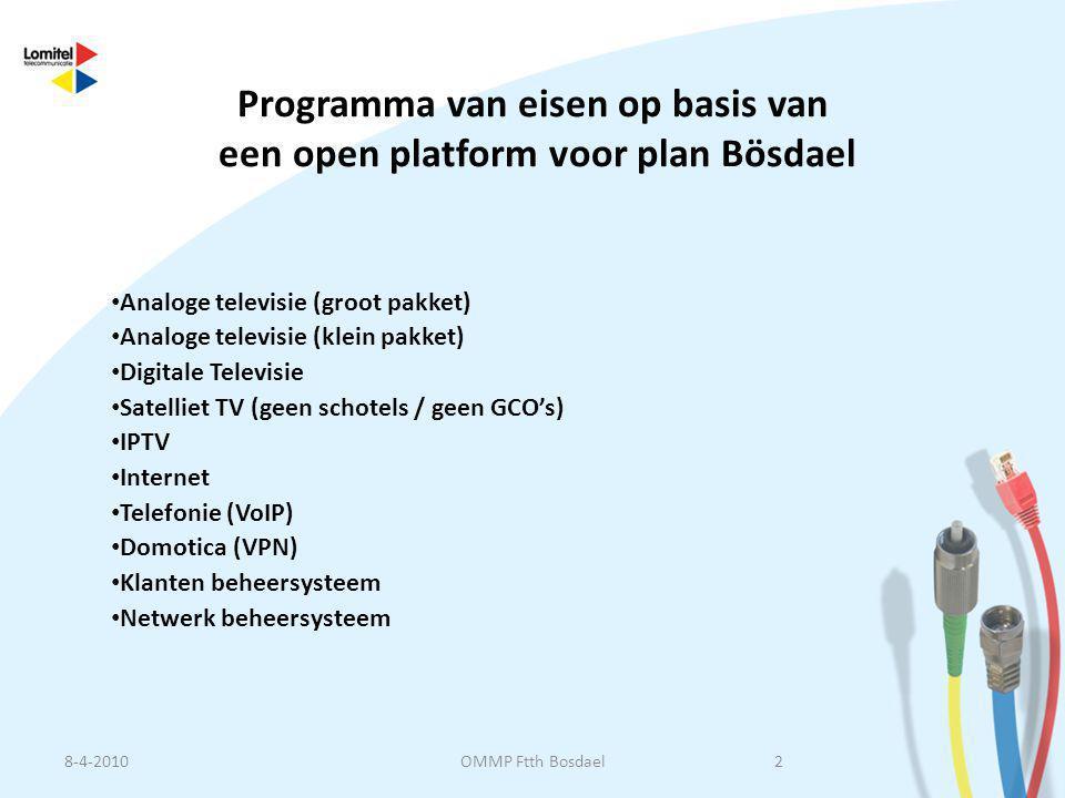 Programma van eisen op basis van een open platform voor plan Bösdael • Analoge televisie (groot pakket) • Analoge televisie (klein pakket) • Digitale