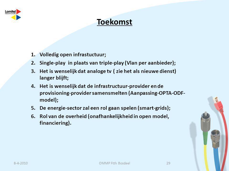 Toekomst 1.Volledig open infrastuctuur; 2.Single-play in plaats van triple-play (Vlan per aanbieder); 3.Het is wenselijk dat analoge tv ( zie het als