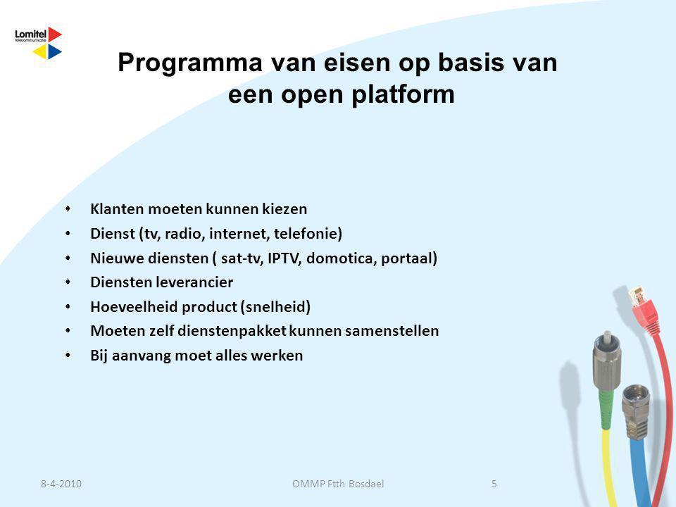 • Klanten moeten kunnen kiezen • Dienst (tv, radio, internet, telefonie) • Nieuwe diensten ( sat-tv, IPTV, domotica, portaal) • Diensten leverancier •