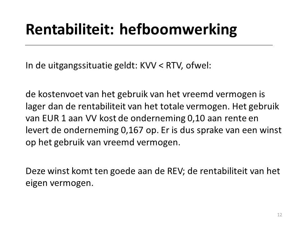 12 Rentabiliteit: hefboomwerking In de uitgangssituatie geldt: KVV < RTV, ofwel: de kostenvoet van het gebruik van het vreemd vermogen is lager dan de rentabiliteit van het totale vermogen.