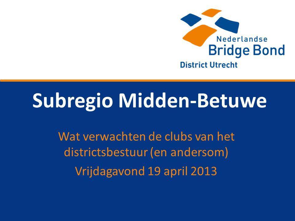 Subregio Midden-Betuwe Wat verwachten de clubs van het districtsbestuur (en andersom) Vrijdagavond 19 april 2013