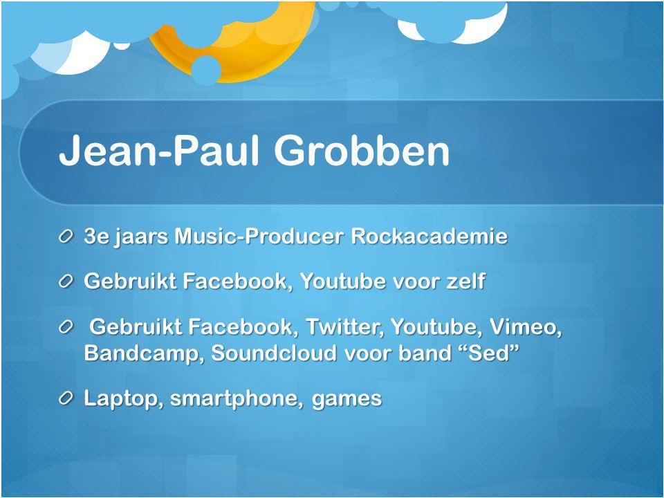 """3e jaars Music-Producer Rockacademie Gebruikt Facebook, Youtube voor zelf Gebruikt Facebook, Twitter, Youtube, Vimeo, Bandcamp, Soundcloud voor band """""""