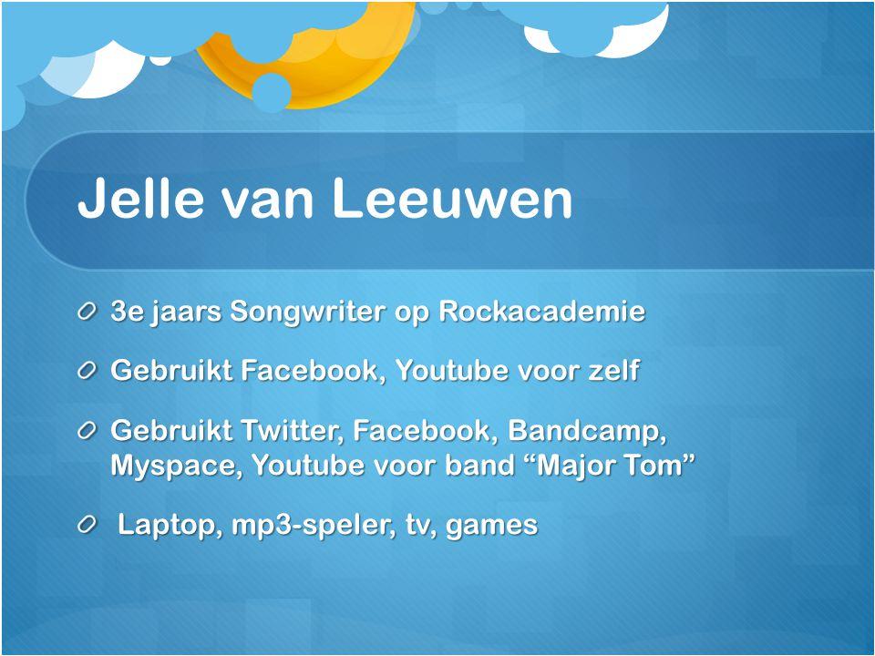 """3e jaars Songwriter op Rockacademie Gebruikt Facebook, Youtube voor zelf Gebruikt Twitter, Facebook, Bandcamp, Myspace, Youtube voor band """"Major Tom"""""""