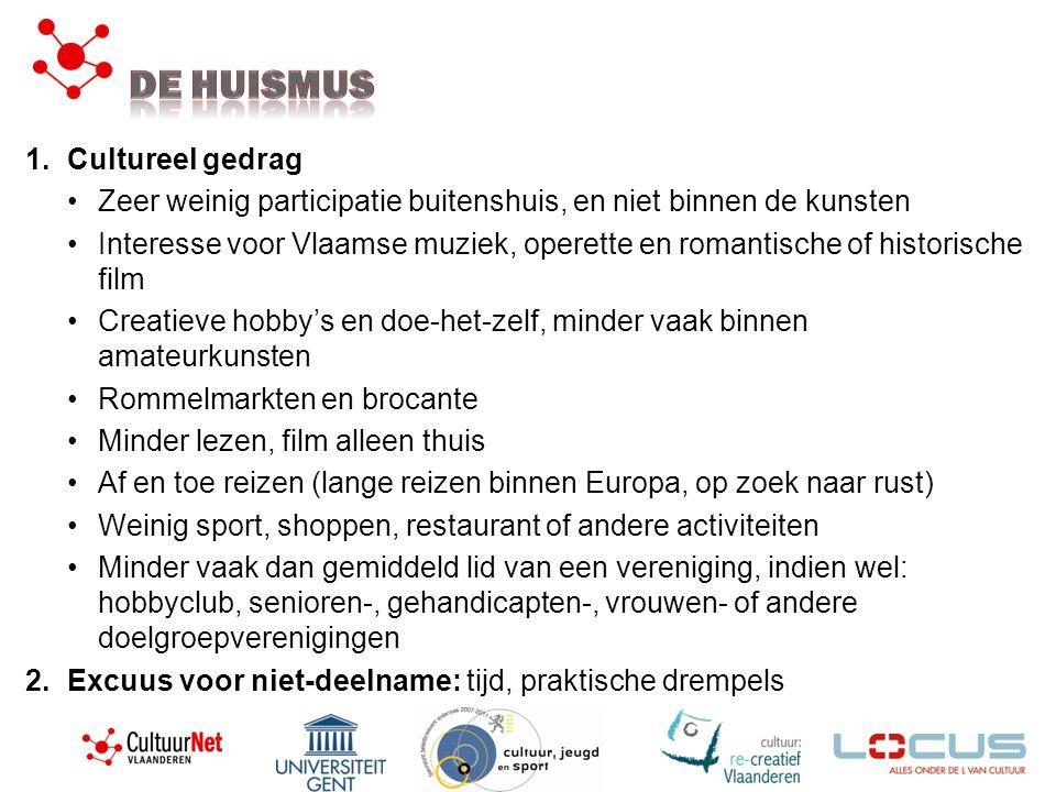 1.Cultureel gedrag •Zeer weinig participatie buitenshuis, en niet binnen de kunsten •Interesse voor Vlaamse muziek, operette en romantische of histori