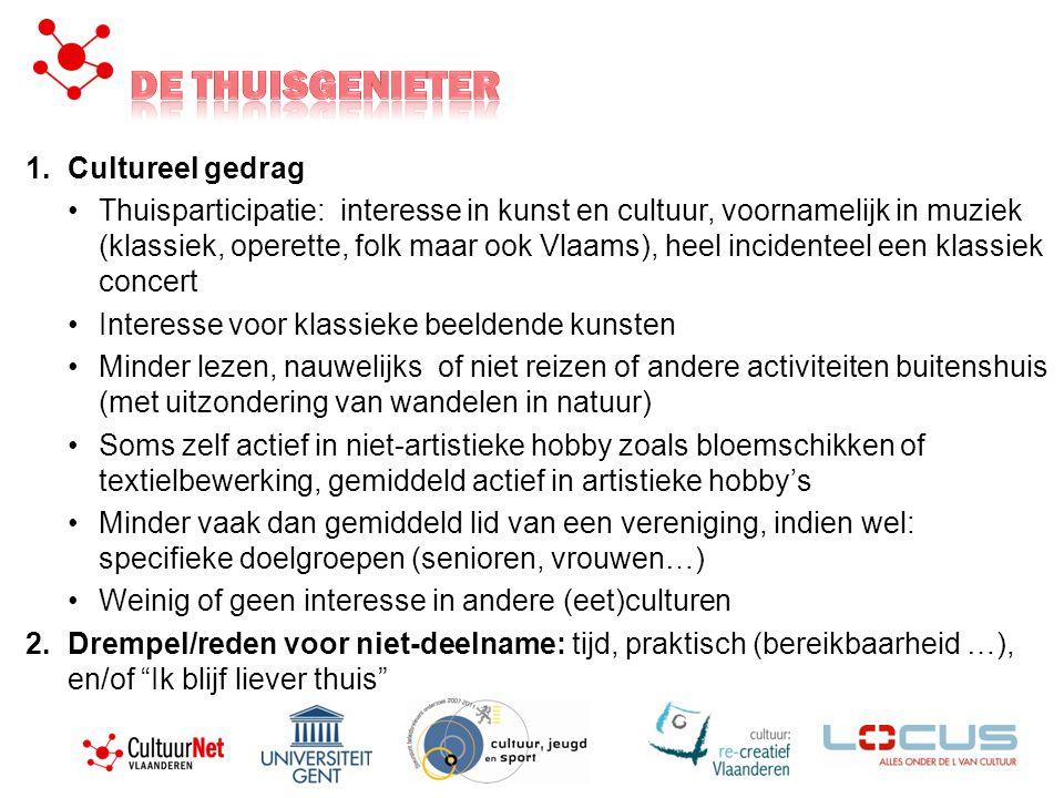 1.Cultureel gedrag •Thuisparticipatie: interesse in kunst en cultuur, voornamelijk in muziek (klassiek, operette, folk maar ook Vlaams), heel incident