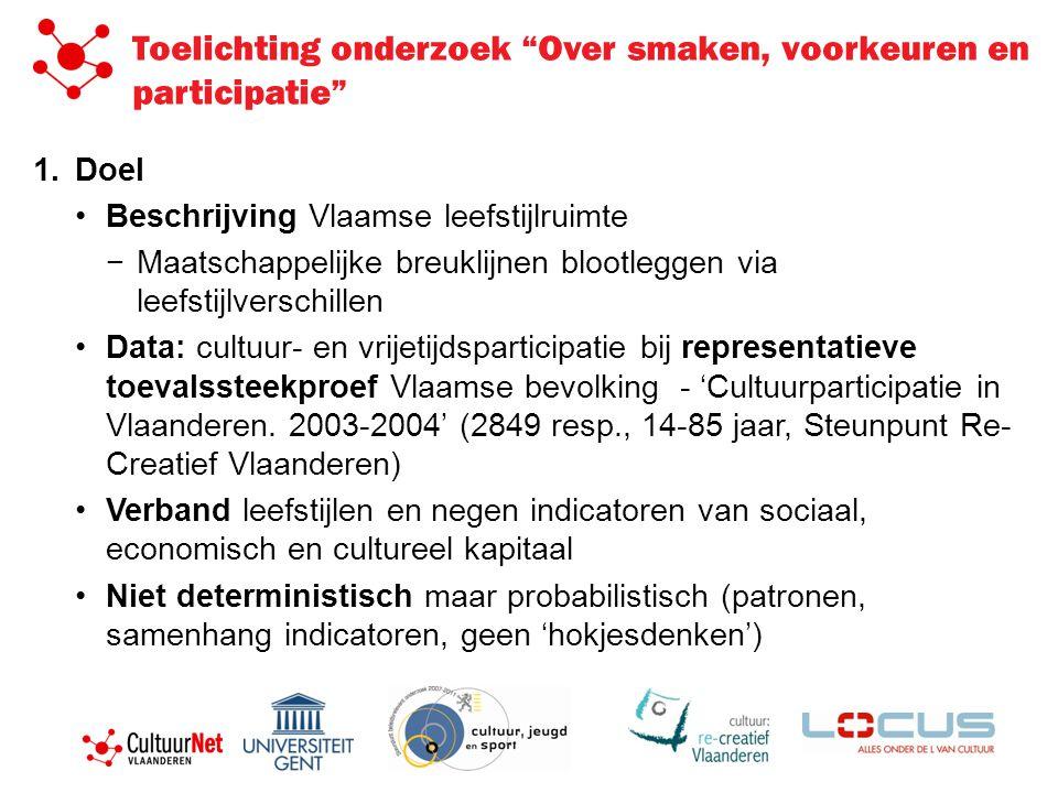 """Toelichting onderzoek """"Over smaken, voorkeuren en participatie"""" 1.Doel •Beschrijving Vlaamse leefstijlruimte − Maatschappelijke breuklijnen blootlegge"""