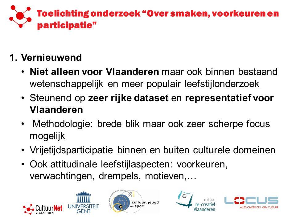 1.Vernieuwend •Niet alleen voor Vlaanderen maar ook binnen bestaand wetenschappelijk en meer populair leefstijlonderzoek •Steunend op zeer rijke datas