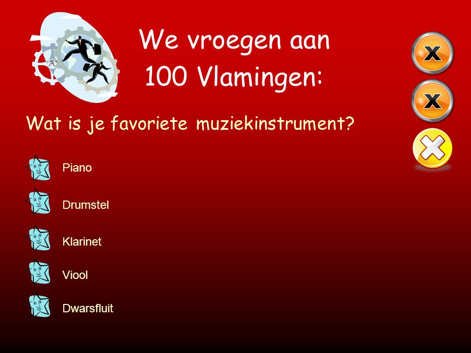 We vroegen aan 100 Vlamingen: Wat is je favoriete muziekinstrument? Piano Drumstel Klarinet Viool Dwarsfluit