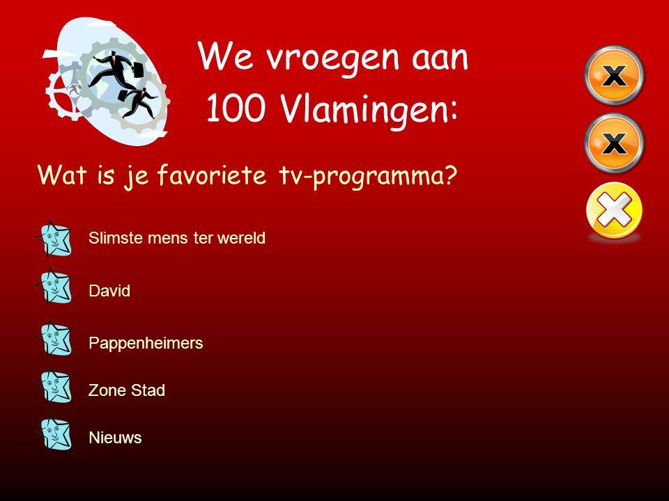 We vroegen aan 100 Vlamingen: Wat is je favoriete tv-programma? Slimste mens ter wereld David Pappenheimers Zone Stad Nieuws