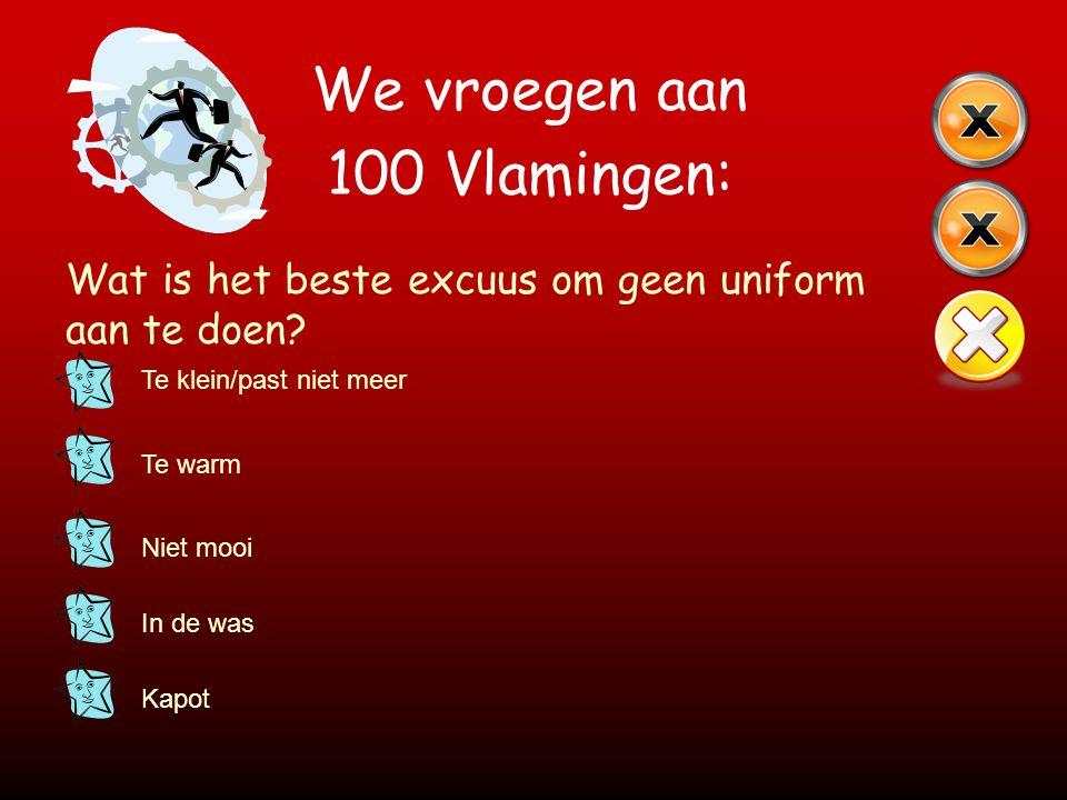 We vroegen aan 100 Vlamingen: Wat is het beste excuus om geen uniform aan te doen? Te klein/past niet meer Te warm Niet mooi In de was Kapot