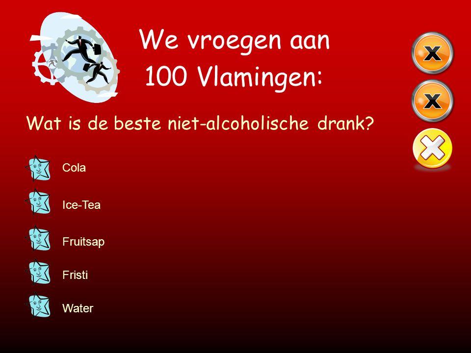 We vroegen aan 100 Vlamingen: Wat is de beste niet-alcoholische drank? Cola Ice-Tea Fruitsap Fristi Water