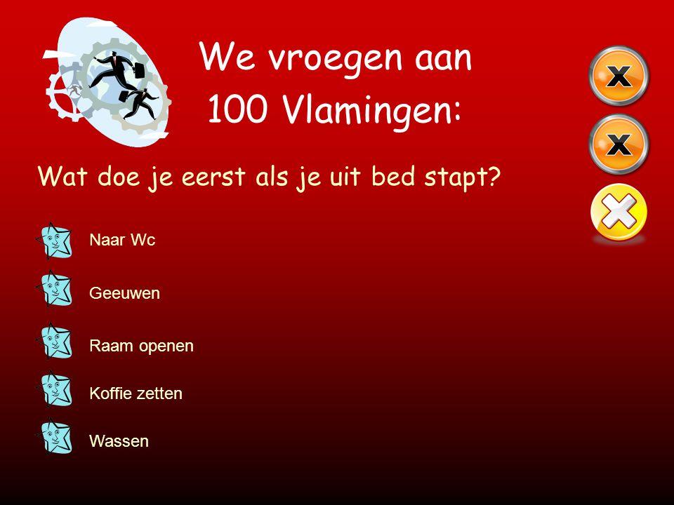 We vroegen aan 100 Vlamingen: Wat doe je eerst als je uit bed stapt? Naar Wc Geeuwen Raam openen Koffie zetten Wassen
