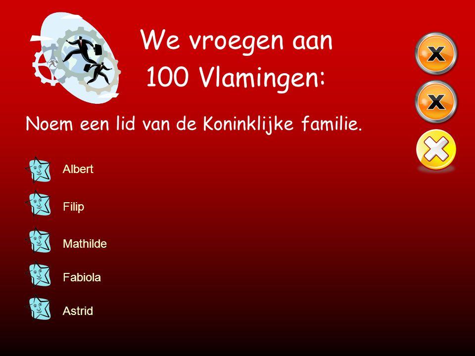 We vroegen aan 100 Vlamingen: Noem een lid van de Koninklijke familie. Albert Filip Mathilde Fabiola Astrid