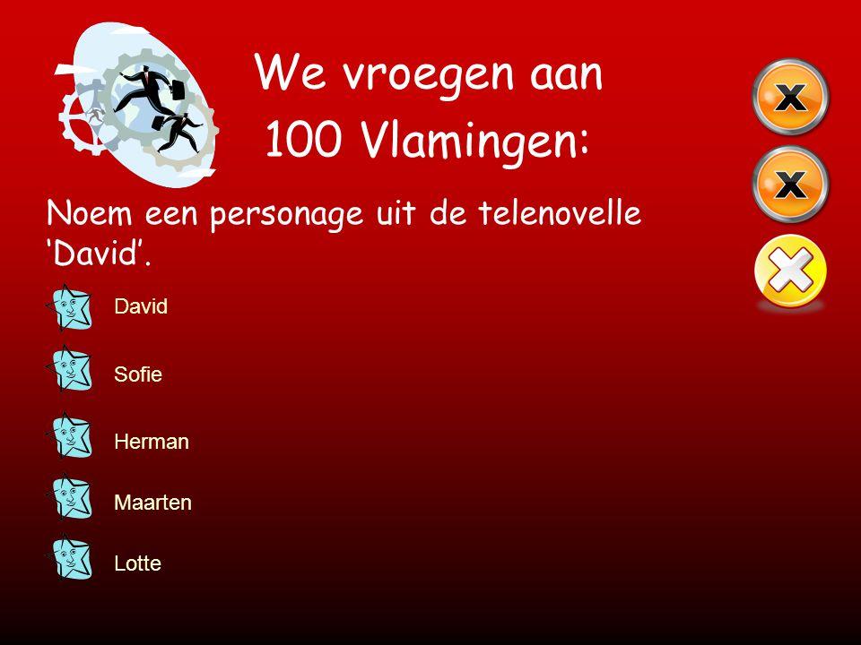 We vroegen aan 100 Vlamingen: Noem een personage uit de telenovelle 'David'. David Sofie Herman Maarten Lotte