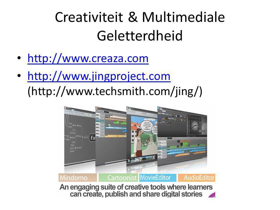 Creativiteit & Multimediale Geletterdheid • http://www.creaza.com http://www.creaza.com • http://www.jingproject.com (http://www.techsmith.com/jing/) http://www.jingproject.com